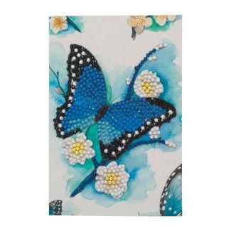 Crystal Art Card - Blue Butterfly (10cm x 15cm )