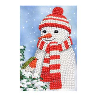 Crystal Art Card - Cosy Snowman (10cm x 15cm)