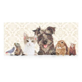 Crystal Art Card - Animal Family (11cm x 22cm)