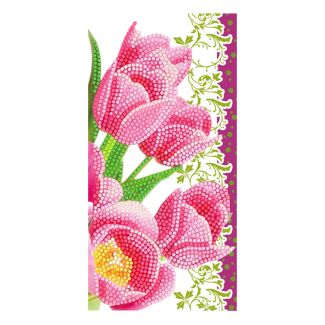 Crystal Art Card - Pink Tulips (11cm x 22cm)