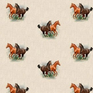 Chatham Glyn Linen Look Fabric - Horses All-Over (1/2 metre)