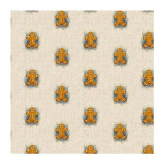 Chatham Glyn Linen Look Fabric - Gingerbread Man All-Over (½ metre)