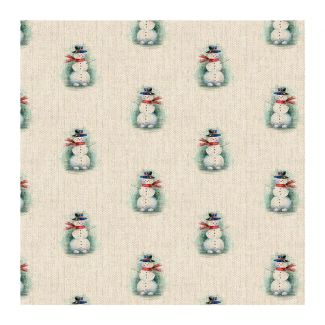 Chatham Glyn Linen Look Fabric - Snowman All-Over (½ metre)