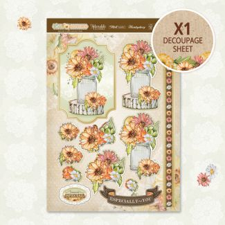 Rustic Blooms Decoupage Topper Sheet