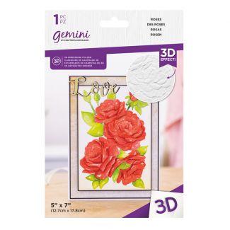"""Gemini - 7"""" x 5"""" 3D Embossing Folder - Roses"""