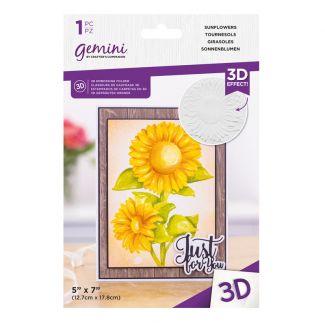 "Gemini - 7"" x 5"" 3D Embossing Folder - Sunflowers"
