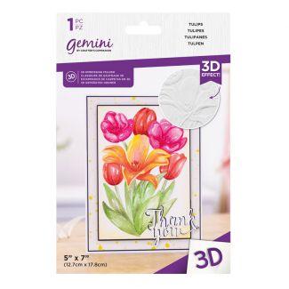 "Gemini - 7"" x 5"" 3D Embossing Folder - Tulips"