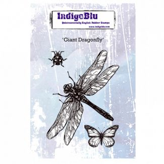Giant Dragonfly A6 Red Rubber Stamp by Kay Halliwell-Sutton