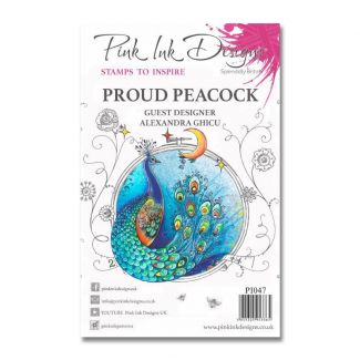 Pink Ink Designs A5 Clear Stamp - Proud Peacock