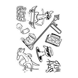 Creative Expressions Designer Boutique Collection Skate-Kats A5 Clear Stamp