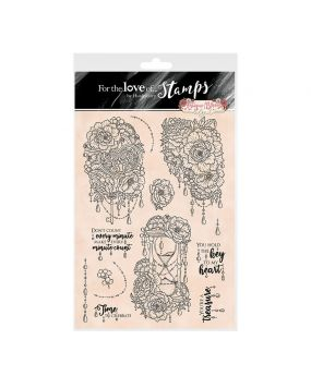 For the Love of Stamps A4 Stamp Set - Antique Blooms Edge It